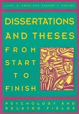 Dissertations and Theses from Start to Finish by Cone & Foster (1993, Paperback)