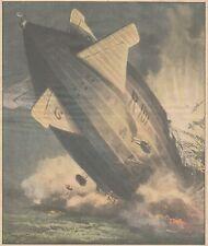 K0011 Dirigibile R. 101 precipita a Beauvias - Stampa d'epoca - 1930 Old print