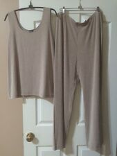 New 2-pc SET Chico's Travelers Mojave Sand Tank Top No Tummy Pant 2 L 12/14 NWT