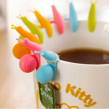 Cute 5Pc Snail Silicone Tea Bag Hanger Cup Distinguish Candy Colors Holder