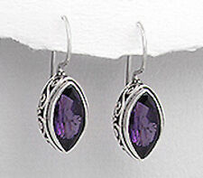 Sterling Silver 23mm ANTIQUE Style Marquise Amethyst Dangle Hook Earrings 3.3g