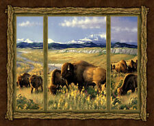 Bison Range Animal CP42006  Wild Wings Wilderness Cotton Fabric Trimmed PANEL