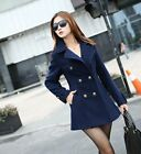 New Lady's Women Slim Fit double-breasted wool Trench Coat Casual Outwear Jacket