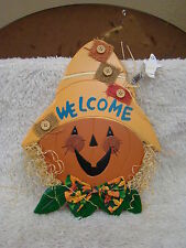 Fall/Halloween Welcome Pumpkin Scarecrow Door Hanging, Holiday Decoration