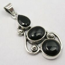 925 Solid Sterling Silver Black Onyx Genuine Gemstone Pendant