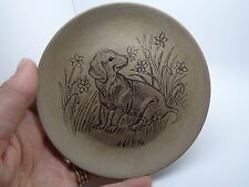 VINTAGE 70`s POOLE POTTERY PLATE PUPPY IN A FLOWER FIELD  BY Barbara Adams