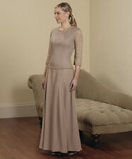 SYLVIA ANNS STYLE 7520 MOTHER/GRANDMOTHER BRIDE/GROOM MOB DRESS SIZE 16 MOCHA