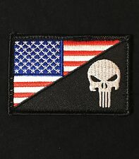 PUNISHER SKULL USA AMERICAN FLAG ARMY MORALE COLOR SWAT PATCH VELCRO® BRAND