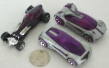 Diecast 3-pc Purple & 2 Silver Sports Cars USED approx 3""