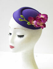 Purple Orchid Flower Pillbox Hat Fascinator Vintage Rockabilly 1950s Hair 1400