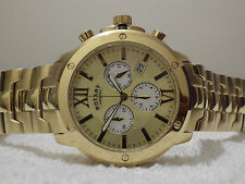 Rotary Men's Chronograph GB02839/03 Gold Plated Swiss Bracelet Watch NEW RRP£299