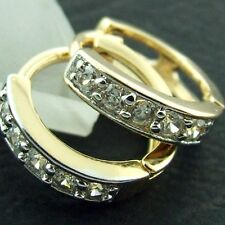 GENUINE 18K YELLOW WHITE G/F GOLD DIAMOND SIMULATED HUGGIE EARRINGS SMALL SIZE