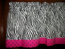 Zebra Hot Pink Polka dot jungle animal bathroom bedroom fabric curtain Valance