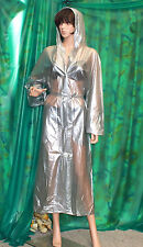lady's transparent silver pvc vinyl raincoat hooded mackintosh  tv mistress Lge