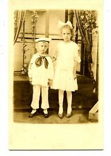 Brother-Sister-Boy in Sailor Suit Outfit-Studio RPPC-Vintage Real Photo Postcard