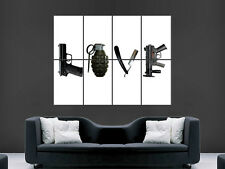 GUNS WEAPONS POSTER LOVE GRANEDE GUN KNIFE GIANT WALL PICTURE PRINT LARGE HUGE