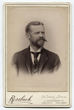 CABINET CARD MAN WITH SHORT BEARD AND BIG MUSTACHE. JERSEY CITY, N.J.