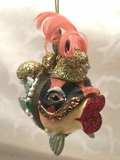 Katherine's Collection Kissing Fish Christmas Ornament Mardi Gras Jester Big Lip