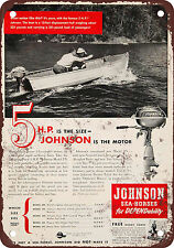 "1950 Johnson Outboard Boat Motors 10"" x 7"" Reproduction Metal Sign"