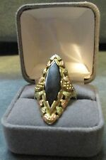 Ladies 10K Solid Gold 8.6 Grams Black Hills Ring W Black Onxy Stone Size 8 3/8