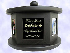 5 PHOTO ROTATING PET CREMATION URN - UP TO 100 LBS FREE Engraved Plate Dog Cat