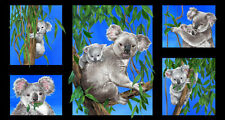 "Koalas Cotton Quilting Fabric Panel 23"" x 44""- 5 individual Pictures"