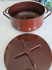 Vintage Dansk Kobenstyke Brown Enamel 2 Quart Pot w Lid Made in France RARE!