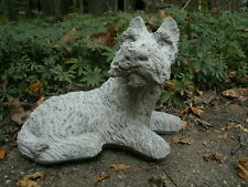 "9"" Cement Sitting Schnauzer Dog Garden Art Concrete Statue  Pet Memorial Awesome"