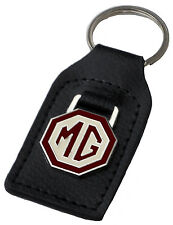 MG brown and creme car key ring / fob - leather and enamel