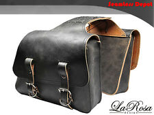 LaRosa Harley Sportster XL Rustic Black Leather Universal Throw Over Saddlebags