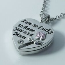 Mothers Day Gift Necklace 2 Sided Worded Love Heart Locket Mum Gift For Her XMAS