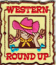 """WESTERN ROUND UP"" -  COWGIRL - HORSE - RODEO - WEST - Iron On Embroidered Patch"