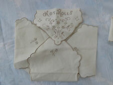 VINTAGE MADEIRA LINEN HOT ROLLS FLORAL - KEEPS ROLLS WARM IN A BOWL NEVER USED