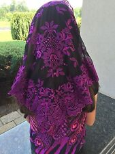 Purple black Spanish style veils and mantilla church chapel lace Mass latin L