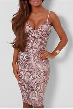 Bnwt Stunning Rose Gold Sequin Dress Size 12 Boutique  Pink Nude