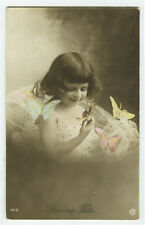 c 1910 Children Child LITTLE GIRL w/ BUTTERFLY butterfies photo postcard