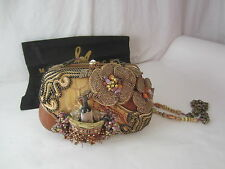 MARY FRANCES wine bottle grapes brown leather bead purse handbag