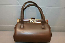 LIGHT CHOCOLATE BROWN VINTAGE 60s GOLDTONE FRAME PURSE HANDBAG BAG SHOPPER