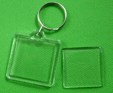 20 Transparent Blank Insert Photo Picture Frame Keyring Split Ring keychain &5
