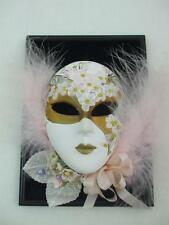 Wall Art Small Face Ceramic Mask Black Velvet Plaque Pink Feathers Signed Luca