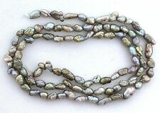 Japan Japanese 6x4 to 9x4 Silver AB Freshwater Biwa Rice Pearl 15 Inch Strand