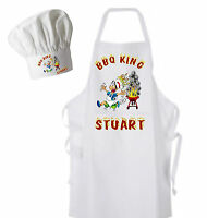 BBQ King Personalised Adults Apron and Chef's Hat Lovely Christmas GIFT BBQ Cook