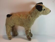 "VINTAGE MOHAIR STRAW FILLED TOY DOG / TERRIER 11"" HIGH"