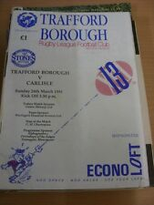 24/03/1991 Rugby League Programme: Trafford Borough v Carlisle (folded)