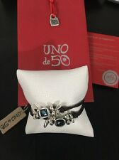 Uno De 50 Multi Strand Leather Bracelet With Blue Swarovski Crystals - Blue Bull