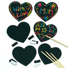 Heart Scratch Art Magnets (10 Pack) for Kids to Design Crafts Art Gifts Fun