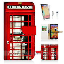 Samsung Galaxy Note 4 Print Flip Wallet Case Cover! Old UK Phone Booth P0096
