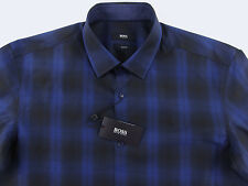Men's HUGO BOSS Black Blue Mod Plaid Shirt 2XL XXL NWT NEW $165 Slim Fit NEMOS