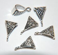 10 x Antiqued Tibetan Silver Decorative CELTIC HANGER BAIL Triangle Bead ~ 15mm