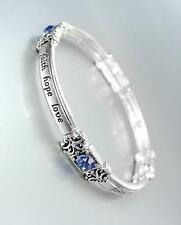 INSPIRATIONAL Silver FAITH HOPE LOVE Blue Crystals Stretch Stackable Bracelet